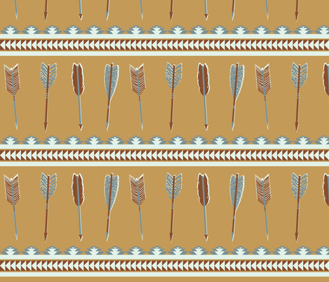 aztec arrows - cinnamon, brown & steel blue fabric by ravynka on Spoonflower - custom fabric