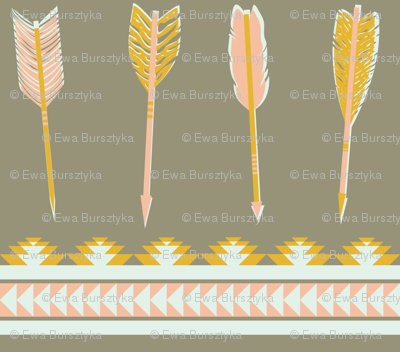 aztec arrows - gray, yellow & pink