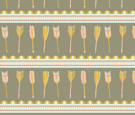 aztec arrows - gray, yellow & pink fabric by ravynka on Spoonflower - custom fabric