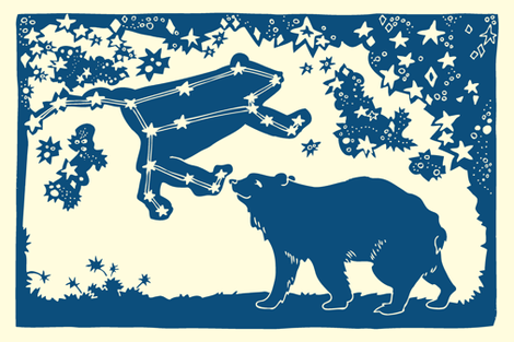 Ursa Major Tea Towel (navy) fabric by laurawilson on Spoonflower - custom fabric