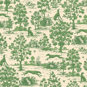 Green Light Antique Greyhound Toile ©2012 by Jane Walker