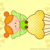 Tinytwinies - Tea towel - Charmy on a cupcake