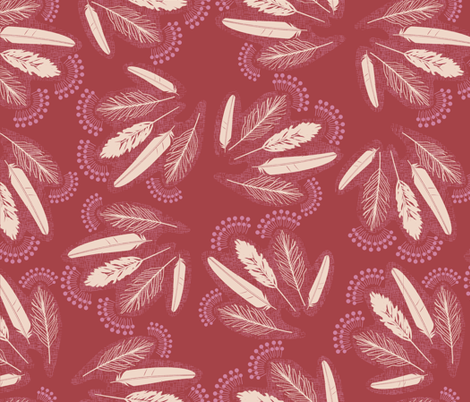 Feather_bunches_dark_blush fabric by natasha_k_ on Spoonflower - custom fabric