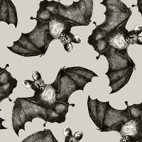 Bats on the run beige background fabric by sydama on Spoonflower - custom fabric