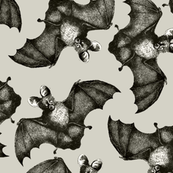 Bats on the run beige background