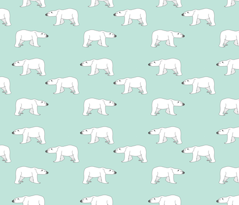 Polar Bears on Mint fabric by carinaenvoldsenharris on Spoonflower - custom fabric