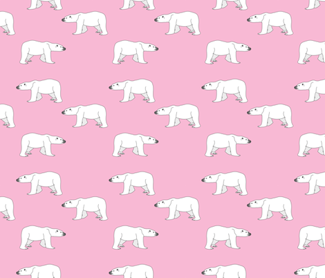 Polar Bears on Pink fabric by carinaenvoldsenharris on Spoonflower - custom fabric