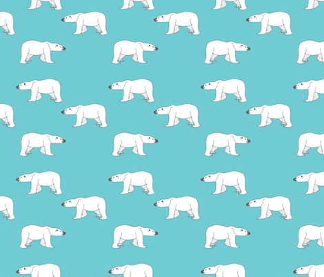 Polar Bears on Teal fabric by carinaenvoldsenharris on Spoonflower - custom fabric