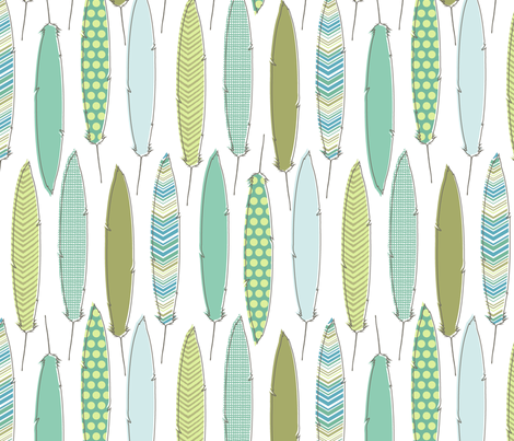 aqua feathers fabric by littlerhodydesign on Spoonflower - custom fabric