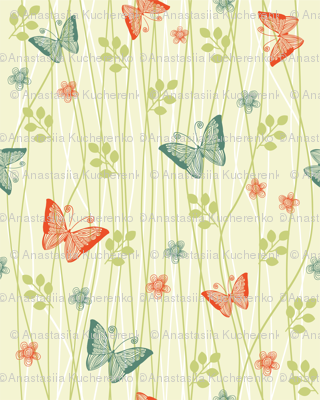 vector butterflies in flowers