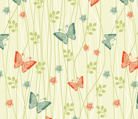 vector butterflies in flowers fabric by anastasiia-ku on Spoonflower - custom fabric