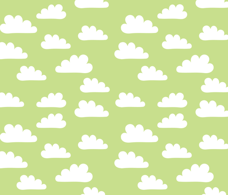 Clouds on Green fabric by carinaenvoldsenharris on Spoonflower - custom fabric