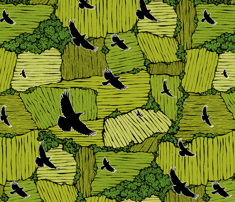 As the Crow Flies, Spring fabric by ceanirminger on Spoonflower - custom fabric