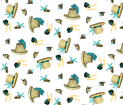 A Windy Day at the Races - Aqua Feathers on White. fabric by rhondadesigns on Spoonflower - custom fabric