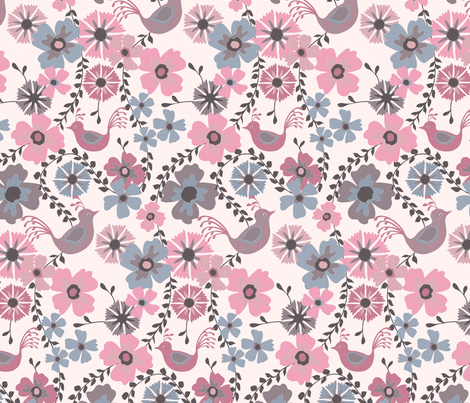 floral_and_bird_blush fabric by kezia on Spoonflower - custom fabric