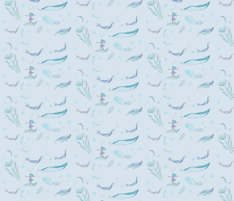 Feather surfer fabric by nbartz on Spoonflower - custom fabric