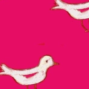 White bird on dark pink