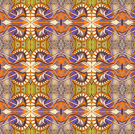 Paisley Zoo, color family 2 (cream/orange/olive) fabric by edsel2084 on Spoonflower - custom fabric