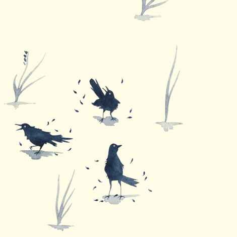 Grackles Find Molting Very Embarrassing fabric by meduzy on Spoonflower - custom fabric