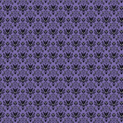 Small Haunted Mansion Damask in Purple fabric by charmcitycurios on Spoonflower - custom fabric