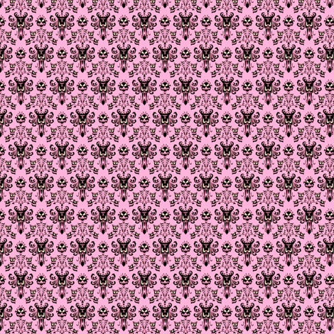 Small Haunted Mansion Damask in Pink fabric by charmcitycurios on Spoonflower - custom fabric