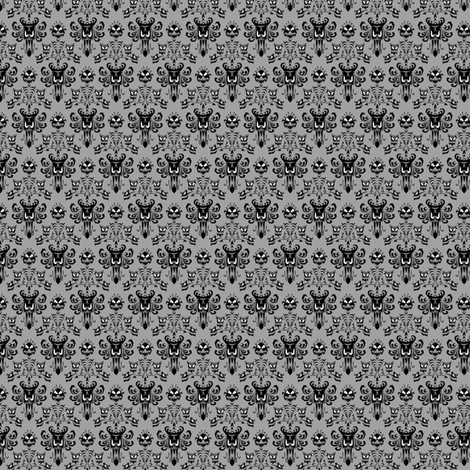 Small Haunted Mansion Damask in Gray fabric by charmcitycurios on Spoonflower - custom fabric
