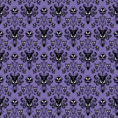 Medium Haunted Mansion Damask in Purple fabric by charmcitycurios on Spoonflower - custom fabric