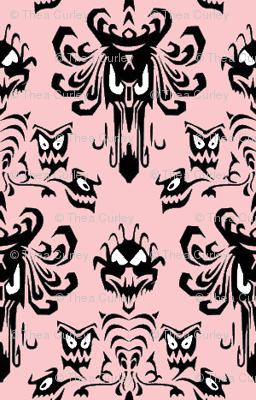 Medium Haunted Mansion Damask in Pink