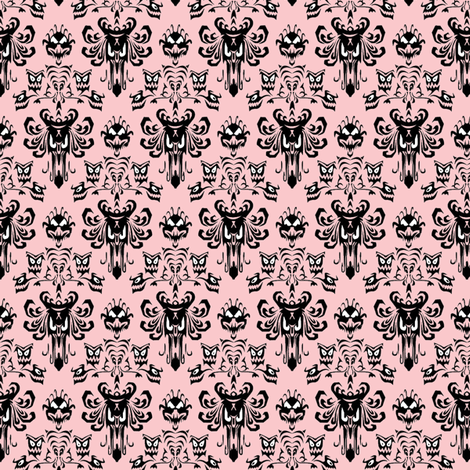 Medium Haunted Mansion Damask in Pink fabric by charmcitycurios on Spoonflower - custom fabric
