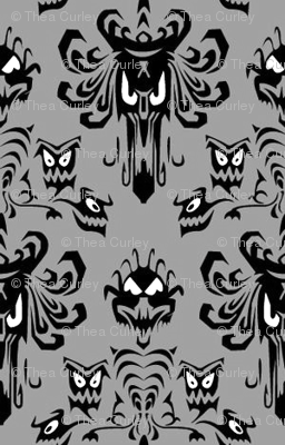 Medium Haunted Mansion Damask in Gray