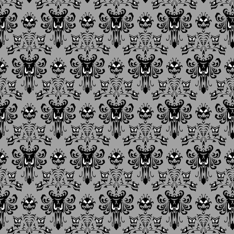 Medium Haunted Mansion Damask in Gray fabric by charmcitycurios on Spoonflower - custom fabric