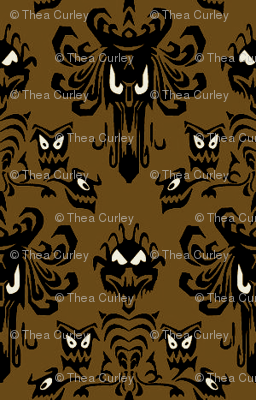 Medium Haunted Mansion Damask in Coffee
