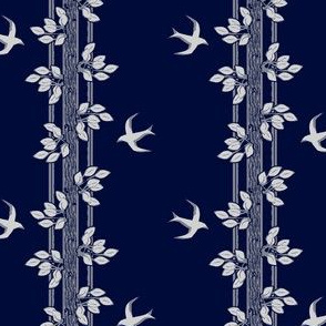 leaves and swallows - gray and blue