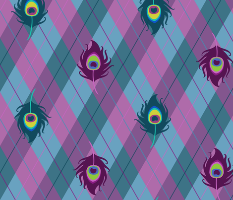 Peacock Argyle (Purple) fabric by pyralisdesign on Spoonflower - custom fabric