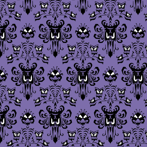 Large Haunted Mansion Damask in Purple