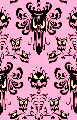 Large Haunted Mansion Damask in Pink