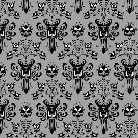 Large Haunted Mansion Damask in Gray fabric by charmcitycurios on Spoonflower - custom fabric