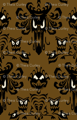 Large Haunted Mansion Damask in Coffee