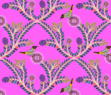 New Holland Honey Eater & Melaleuca fabric by yellowstudio on Spoonflower - custom fabric