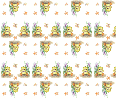 Easter Chicken, Spring Fabric, yellow, white, green, purple fabric by mariannemathiasen on Spoonflower - custom fabric