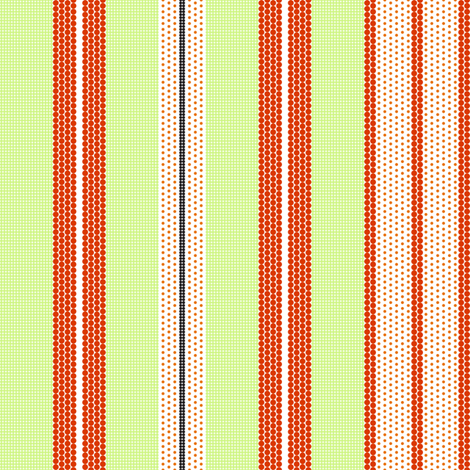 Pointillist Stripes - tangerine orange, lime green and black! fabric by penina on Spoonflower - custom fabric