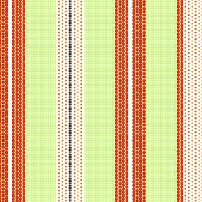 Pointillist Stripes - tangerine orange, lime green and black!