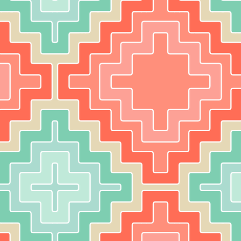 coral mint kilim diamond