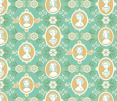 Cameo Ladies fabric by chris_jorge on Spoonflower - custom fabric
