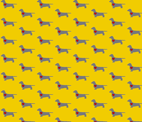 Dachshund Love in Citron & Grey fabric by rosr on Spoonflower - custom fabric