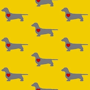 Dachshund Love in Citron & Grey