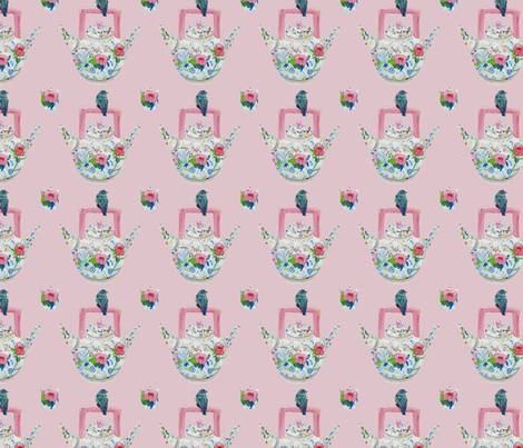 Mom's Bluebird and Teapot, pink  fabric by karenharveycox on Spoonflower - custom fabric