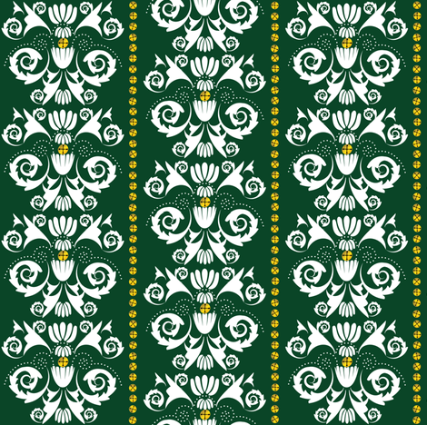 Jingle Bell Damask - Green fabric by owlandchickadee on Spoonflower - custom fabric