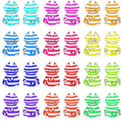 12 mini rainbow Cheshire cats on a swatch