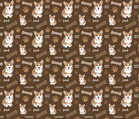 Corgi Brown fabric by dianef on Spoonflower - custom fabric